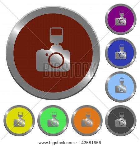 Set of color glossy coin-like camera with flash buttons