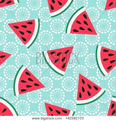 Cute seamless watermelon pattern on blue background. Vector illustration for sweet summer fruit design. Slice fresh food ornament. Pretty repeat wallpaper. Bright tasty cartoon decoration