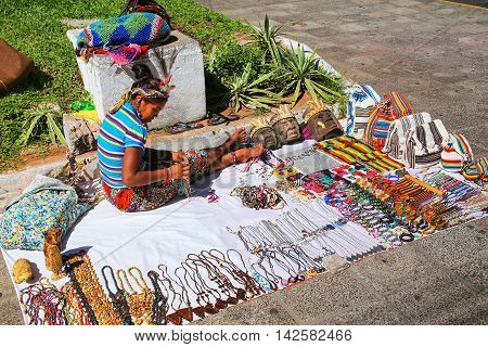 Asuncion, Paraguay - December 26: Unidentified Woman Sells Souvenirs In The Street On December 26, 2