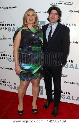 NEW YORK-APR 27: Director J.C. Chandor (R) and wife Cameron attend the 42nd Chaplin Award Gala at Alice Tully Hall, Lincoln Center on April 27, 2015 in New York City.