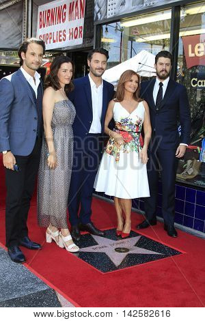 LOS ANGELES - AUG 11: Rodrigo Santoro, Ayelet Zurer, Jack Huston, Roma Downey, Toby Kebbell as Roma Downey is honored with a star on the Hollywood Walk of Fame on August 11, 2016 in Los Angeles, CA