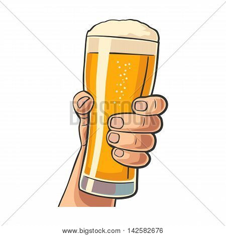 Male hand holding a beer glass. Vintage vector flat illustration for web poster invitation to party and birthday. Isolated on white background