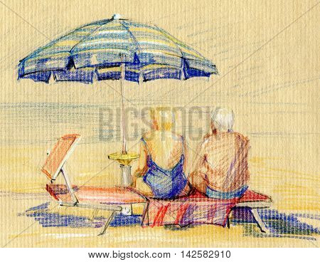 Summer parasols. Scenes from the life. Hand drawn colored pencil sketches