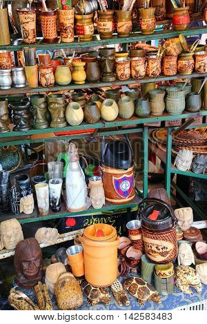 Asuncion, Paraguay - December 26: Display Of Mate Cups At The Street Market On December 26, 2014 In