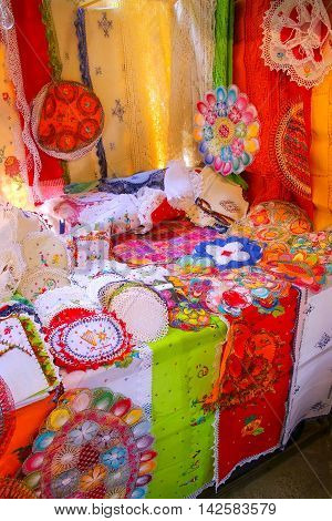 Asuncion, Paraguay - December 26: Display Of Nanduti At The Street Market On December 26, 2014  In A
