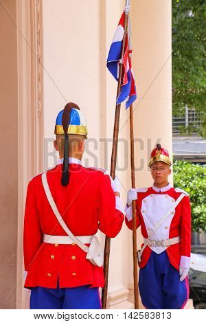 Asuncion, Paraguay - December 26: Unidentified Men Guard Entrance To National Pantheon Of The Heroes