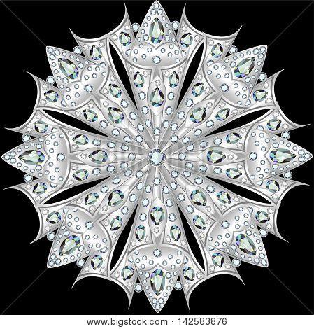 Mandala brooch jewelry, design element with precious stones. Geo