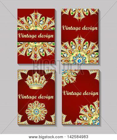 Vector vintage visiting card set. Floral mandala pattern and orn