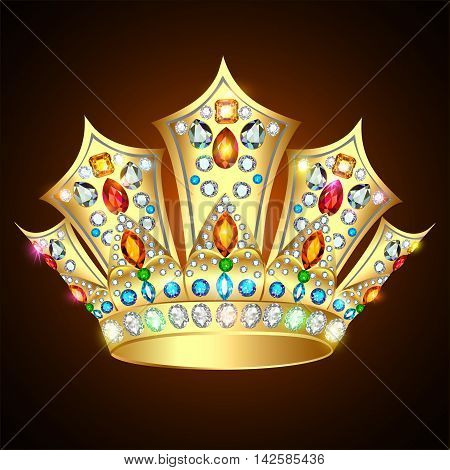Illustration royal shiny gold crown with precious stones and jew