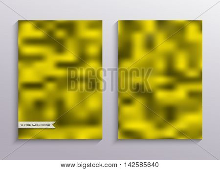 Set blurry backgrounds for creative design. Collection banners, posters, covers in yellows tones. A4 size.