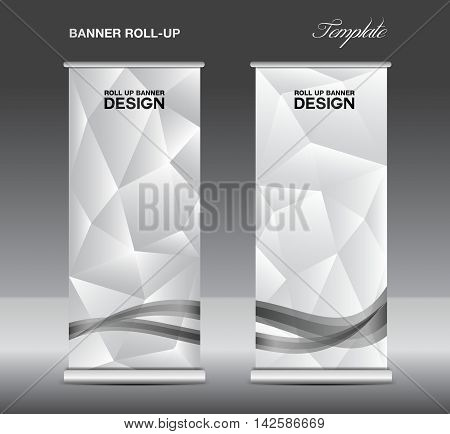 White Roll up banner template vector, roll up stand, banner design, flyer, advertisement, polygon background