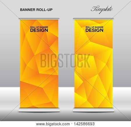 Yellow Roll up banner template vector, polygon background, roll up stand, banner design, flyer, advertisement