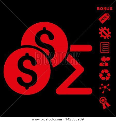 Coin Summary icon with bonus pictograms. Vector illustration style is flat iconic symbols, red color, black background, rounded angles.