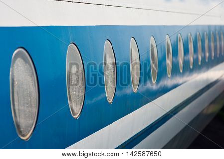 old Passenger aircraft windows. View from outside.
