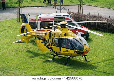 GERA, GERMANY - MAY, 29, 2016: adac helicopter and ambulance