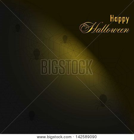 Background with spiders and web.Happy halloween. Template