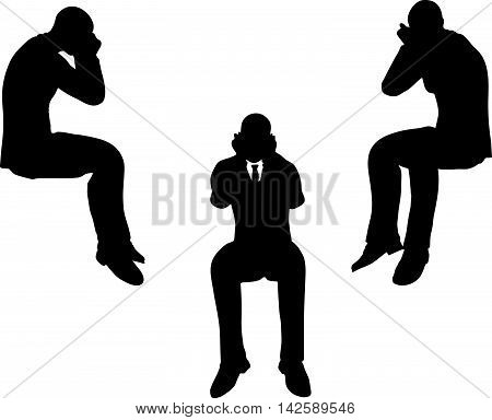 Man Silhouette In Sorrowful Pose