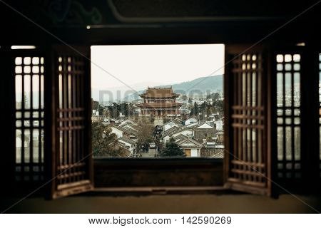 Dali old town rooftop viewed from Wuhua House. Yunnan, China.