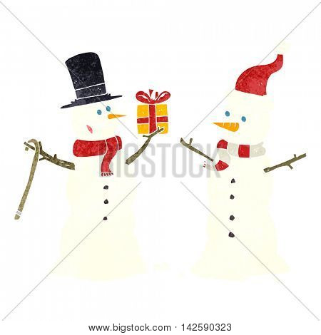 freehand retro cartoon snowmen exchanging gifts