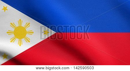 Flag of the Philippines waving in the wind with detailed fabric texture. Philippine national flag. 3D illustration
