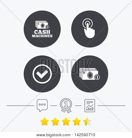 ATM cash machine withdrawal icons. Click here, check PIN number, processing and cash withdrawal symbols. Chat, award medal and report linear icons. Star vote ranking. Vector