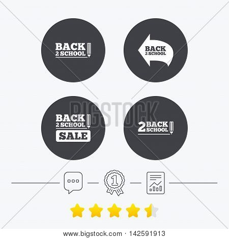 Back to school sale icons. Studies after the holidays signs. Pencil symbol. Chat, award medal and report linear icons. Star vote ranking. Vector