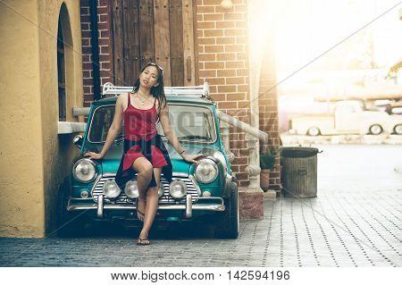 Asia Beautiful Lady Standing Near Retro Car