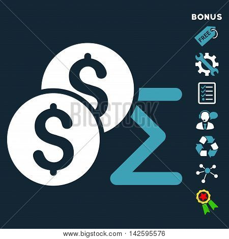 Coin Summary icon with bonus pictograms. Vector illustration style is flat iconic bicolor symbols, blue and white colors, dark blue background, rounded angles.