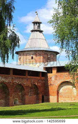 Ancient wall tower of the medieval fortress - Kremlin in Zaraysk Moscow region