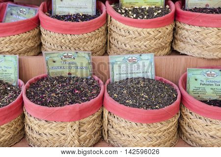Granada Spain - August 5 2016: spices seeds and tea sold in a traditional street market