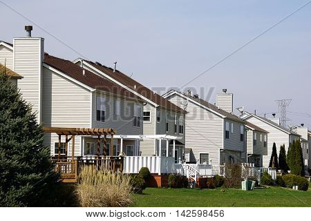 JOLIET, ILLINOIS / UNITED STATES - MARCH 26, 2016: Tract homes in the Wesmere Country Club subdivision of Joliet, Illinois.