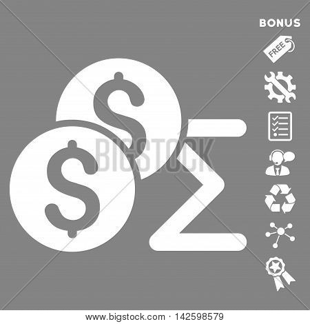 Coin Summary icon with bonus pictograms. Vector illustration style is flat iconic symbols, white color, gray background, rounded angles.