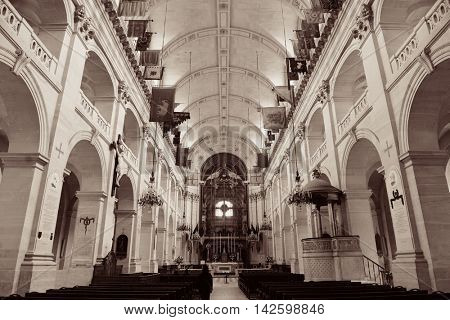 PARIS - MAY 13: Saint Louis des Invalides chapel interior on MAY 13, 2015 in Paris. It is the the burial site for France's war heroes including Napoleon Bonaparte.