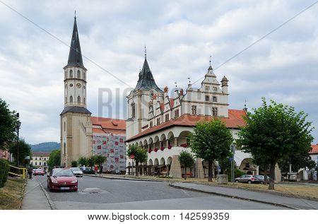LEVOCA SLOVAKIA - AUGUST 18 2015: St James's Church and Town Hall in Levoca Slovakia.