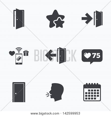 Doors icons. Emergency exit with arrow symbols. Fire exit signs. Flat talking head, calendar icons. Stars, like counter icons. Vector