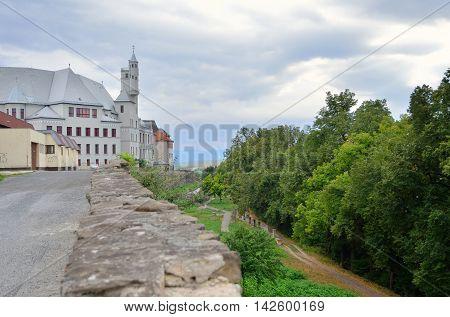 LEVOCA SLOVAKIA - AUGUST 18 2015: Junior High School at the Old Minorities Church in Levoca Slovakia.