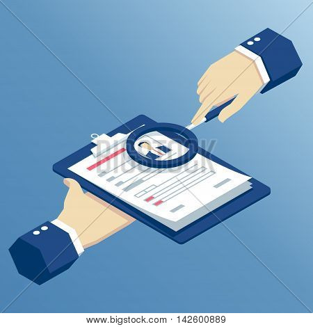 Job interview and recruitment business concept isometric hands holding resume and magnifying glass businessman examining resume through a magnifier