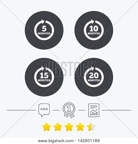 Every 5, 10, 15 and 20 minutes icons. Full rotation arrow symbols. Iterative process signs. Chat, award medal and report linear icons. Star vote ranking. Vector