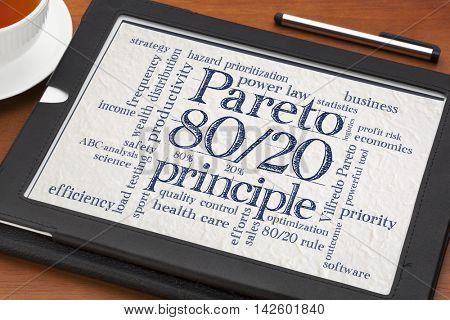 Pareto principle or eighty-twenty rule - word cloud on a digital tablet with a cup of tea