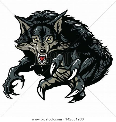 Snarling Scary Werewolf Character Design Vector Illustration