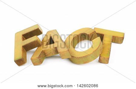 Word Fact made of colored with paint wooden letters, composition isolated over the white background