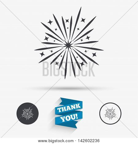 Fireworks sign icon. Explosive pyrotechnic show symbol. Flat icons. Buttons with icons. Thank you ribbon. Vector