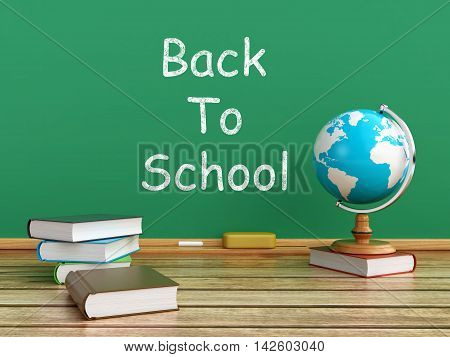 3d rendering of a blackboard with school books and desktop globe