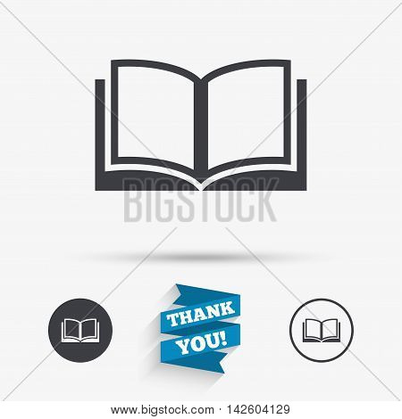 Book sign icon. Open book symbol. Flat icons. Buttons with icons. Thank you ribbon. Vector