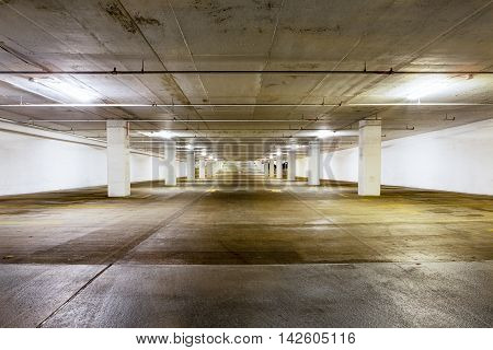 Large Grungy Empty Undercover Parking Area