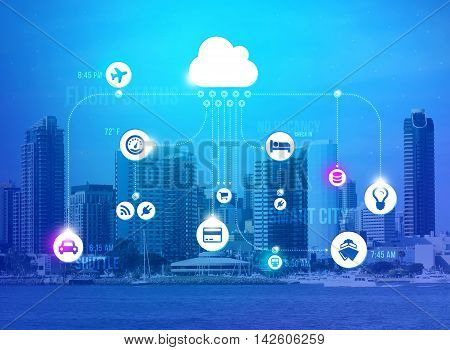 An illustration of Smart City connections with background of the city skyline