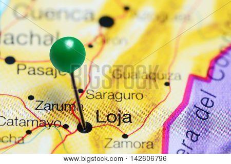 Loja pinned on a map of Ecuador