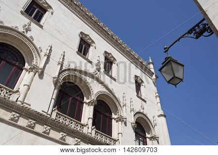LISBON, PORTUGAL - September 25, 2015: Detail of the Romantic Neo-Manueline facade of the Rossio Railway Station on September 25, 2015 in Lisbon, Portugal