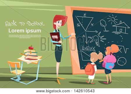 Teacher With Pupils Over Class Board School Lesson Flat Vector Illustration