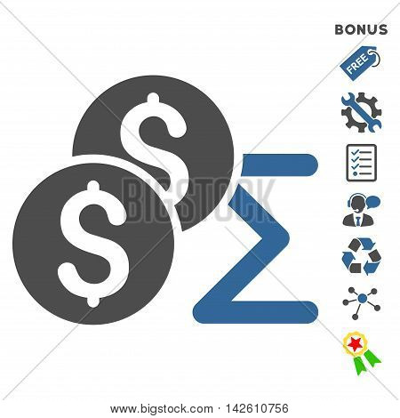 Coin Summary icon with bonus pictograms. Vector illustration style is flat iconic bicolor symbols, cobalt and gray colors, white background, rounded angles.